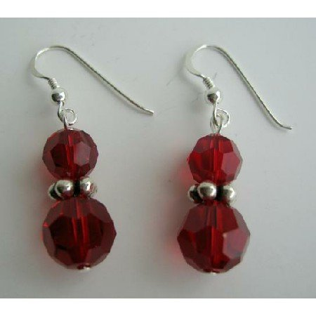 ERC194  Vintage Swarovski Siam Red Crystals Earrings w/ Sterling Silver