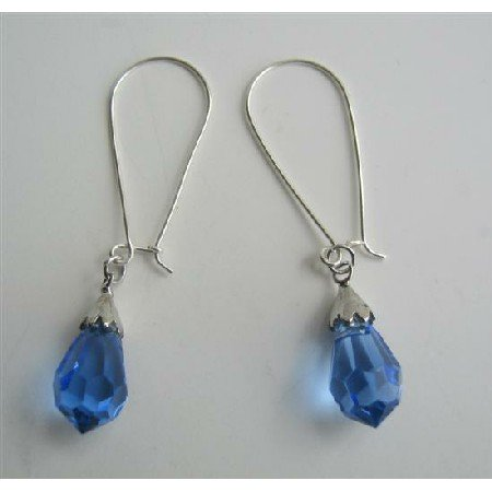 ERC315Lite Sapphire Czech Crystals Teardrop Sterling Silver Earrings Genuine Sterling Silver Hoop