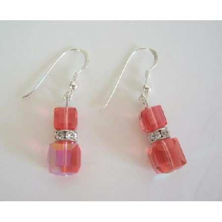 ERC217  PADPARADSCHA Swarovski Crystals Sterling Silver Earrings AB Crystals Chandelier