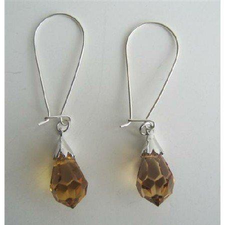 ERC317  Lite Smoked Topaz Czech Crystals Teardrop Sterling Silver Hoop Earrings