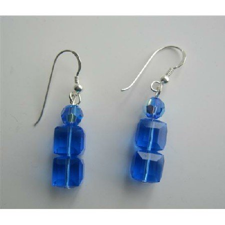 ERC240  Sapphire Cube And Round Swarovski Crystals Sterling Silver Earrings