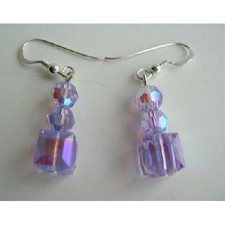 ERC196  Crystals Earrings in AB Violet Swarovski Crystals Earrings Sterling Silve