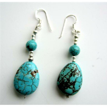 ERC329  Handmade Sterling Silver Turquoise Flat Oval Beads Earrings