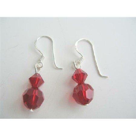 ERC195  Genuine Swarovski Siam Red Crystals Silver Earrings