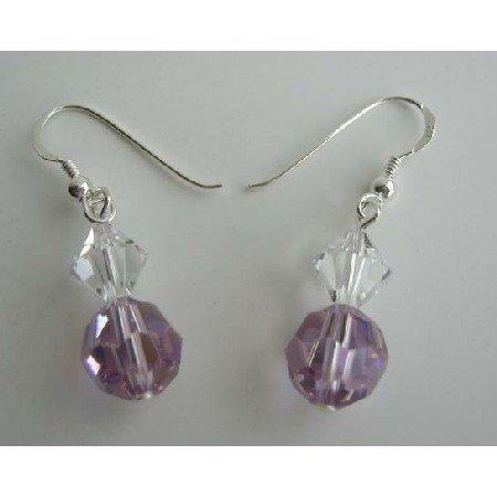 ERC202  Genuine Swarovski Voilet & AB Crystals Clear Crystals Earrings Sterling Silver Hook