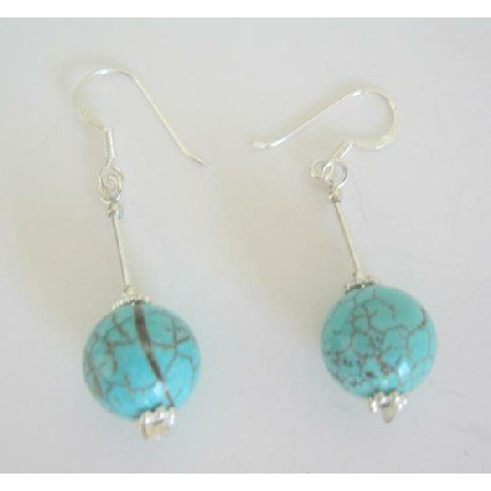 ERC227 Turquoise Round Bead w/ Sterling Silver Tube & Silver Beads Sterling Earrings