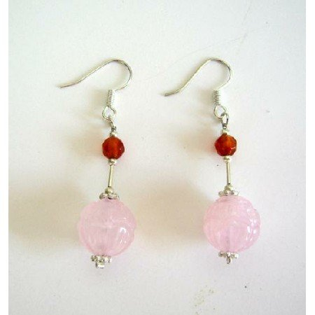 ERC223  Genuine Rose Quartz 12mm Earrings Sterling Silver Earrings
