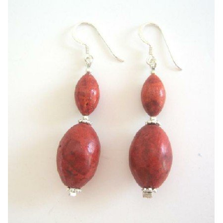 ERC228  Coral Earrings Genuine Coral 14mm & 10mm Oval Beads Sterling Silver Earrings