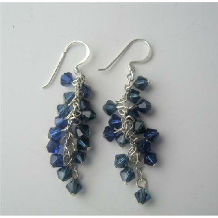 ERC264  Sapphire Crystals Earrings Swarovski Crystals Sterling Silver Earrings