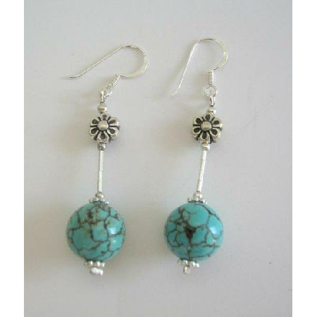 ERC224 Turquiose Round Bead w/ Sterling Silver Tube & Daisy Spacing Sterling Earrings