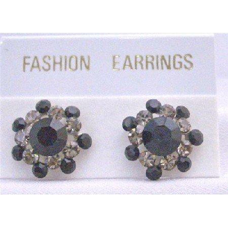 ERC184  Black Crystals Stud Earring w/ Black Diamond Crystals