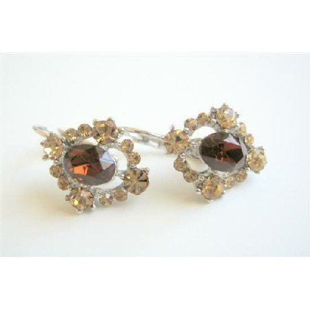 ERC183  Smoked Topaz Crystals Earrings