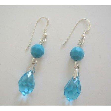 ERC213 Swarovski Crystals Tear Drop Sterling Silver Earrings w/ Turquiose Bead Earrings