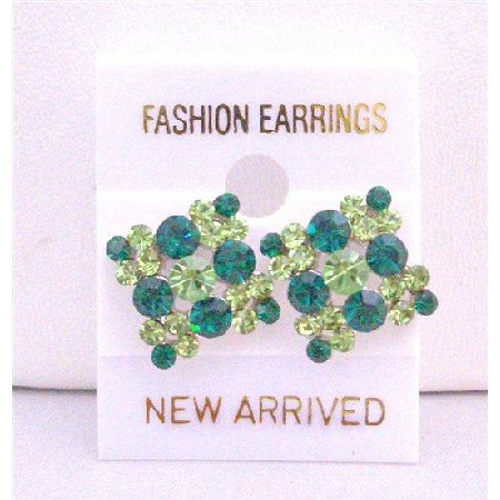 ERC158  Fabulous Gorgeous Piece Peridot Crystals Stud Pierced Earrings