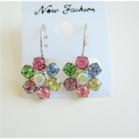 ERC143  Multi Colored Crystals Swarovski Crystals Flower Petal Stud Pierced Earrings Gorgeous Piece