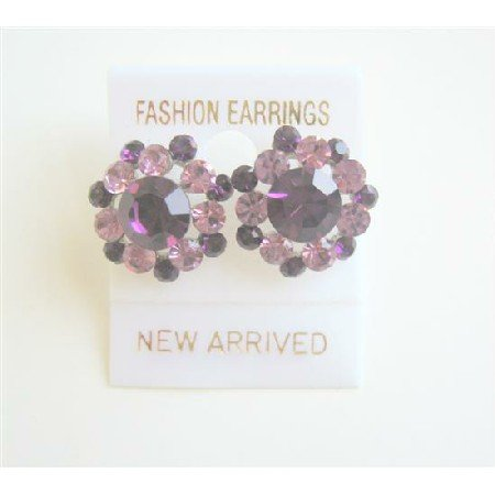 ERC180  Amethyst Light & Dark Sparkling Crystals Earrings