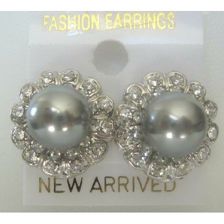 ERC151  Cultured Round Grey Pearls Earrings w/ Surrounded Cubic Zircon