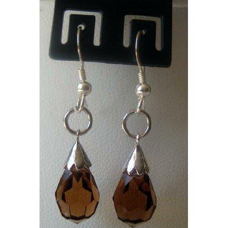 ERC138Genuine Sterling Silver Teardrop Crystals Earrings Earwires Smoked Topaz Crystals Earrings