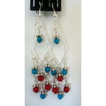 ERC101  Turquoise & Red Coral Bead Earrings Sterling Silver Dangling