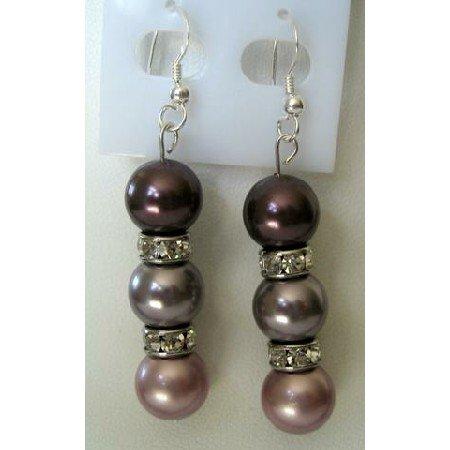 ERC132  Handcrafted Genuine Swarovski Pearls 3 Colors w/ Sterling Silver Earrings & Silver Rondells