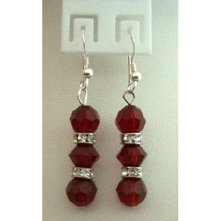 ERC104 Handmade Sterling Silver Earrings w/Genuine Siam Red Crystals Balls&Silver Rondells