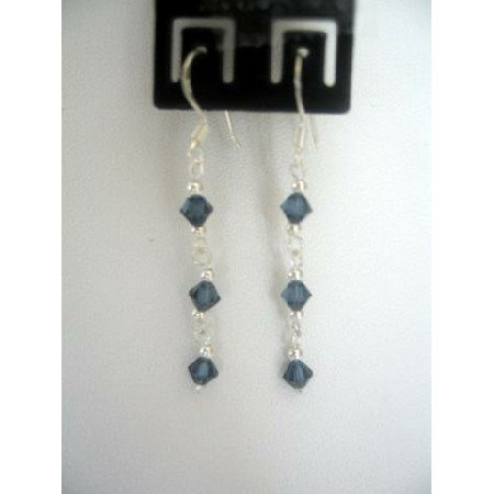ERC129  Sapphire Gorgeous Genuine Sterling Silver & Sapphire Crystals Earrings