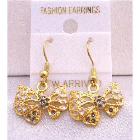 UER300  Gold Plated Butterfly Earrings w/ Multicolor Cubic Zircon Butterfly Earrings