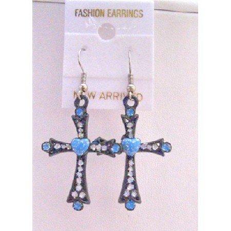 UER150  Black Cross Earrings w/ Blue Heart & Cubic Zircon Embedded Earrings