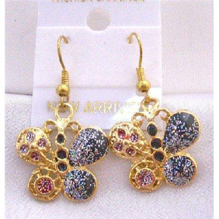 UER301  Glitter Butterfly Shimmering Gold Plated Butterfly Earrings