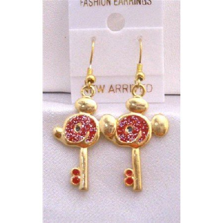 UER309  Mouse Face Key Earrings Gold Plated Key Earrings w/ Red Glitter