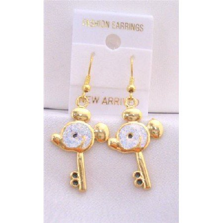 UER310  Gold Plated Key Earrings w/ Mouse Face Earrings w/ White Glitter