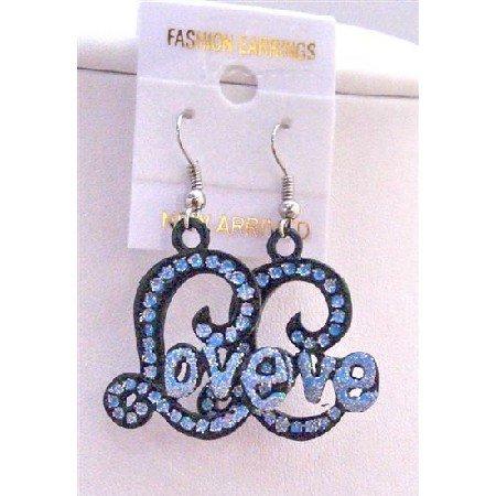 UER153  L Shape Earrings w/ Blue Cubic Zircon Word Love Fabulous Earrings
