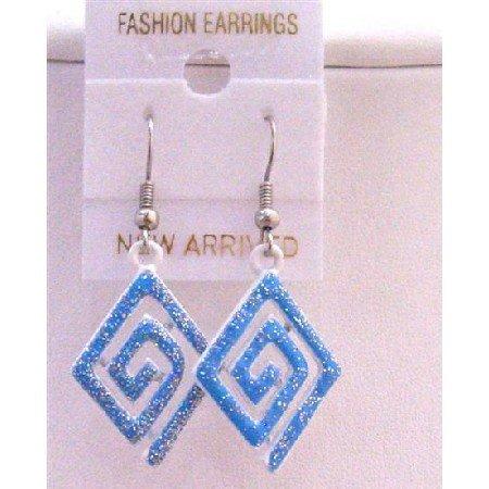 UER158  Blue Glitter Multi Diamond Shaped Blue Enamel Earrings