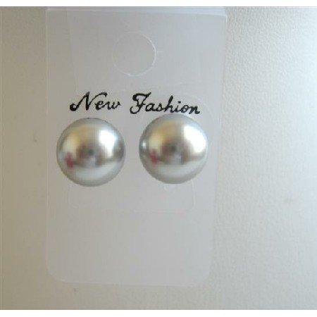 UER005  Grey Pearls Stud Earrings Genuine Swarovski Grey Pearls 8mm Stud Earrings