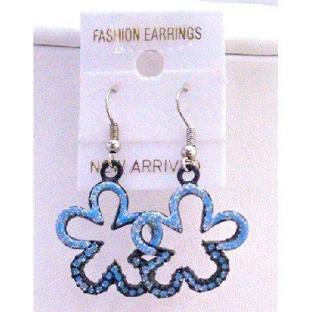 UER154  Blue Glitter Flower Earrings Blue Enamel Earrings