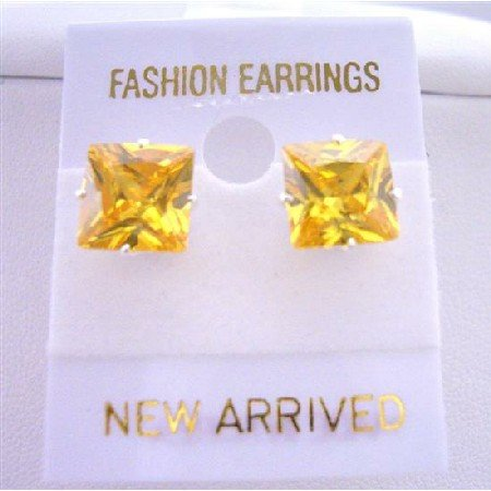 UER037  Classic Cool Citrine Leamon Color Prince Cut Stud 10mm Earrings