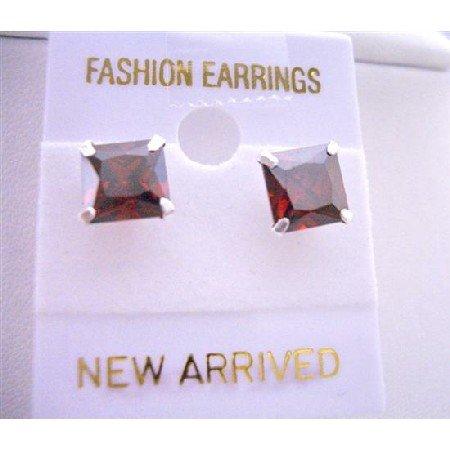 UER039  Elegant Stud Earrings Burnt Orange Price Cut Stud Earrings 8mm Cz Earrings