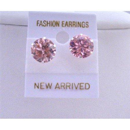 UER025  Sparkling Cubic Zircon Pink Stud Earrings 10mm Cz Sterling Silver Stud Earrings