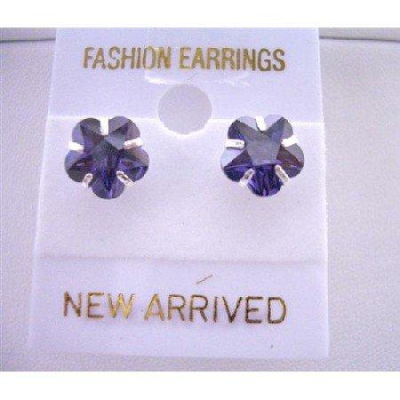 UER035  Tanzanite Flower Cubic Zircon Stud Earrings Surgical Post Earrings