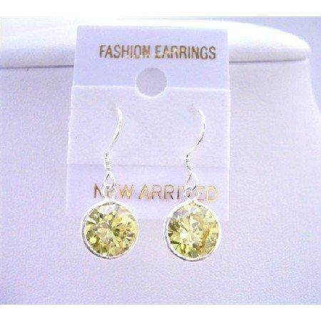 UER038  Olive Stud sterling Silver 92.5 Earrings 10mm Olive Cz stud Earrings