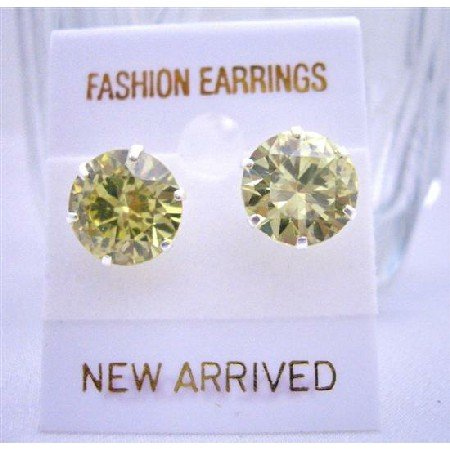 UER006  10mm Olive Cubic Zircon Sterling Silver Post Stud Earrings