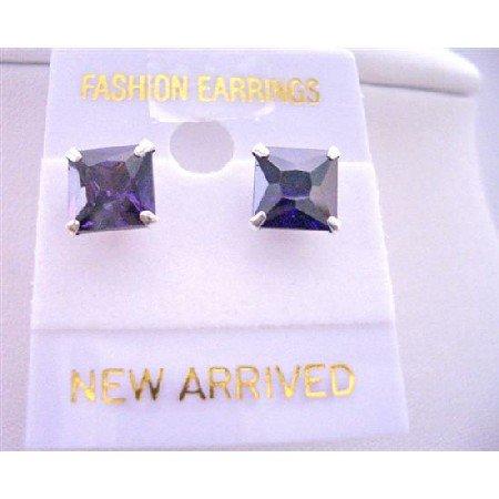 UER052  Tanzanite Prince Cut Stud Earrings