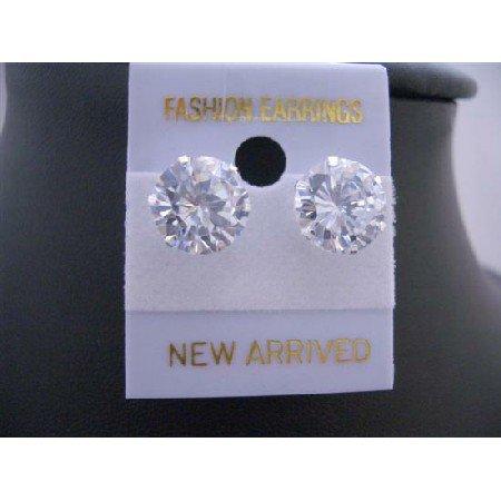UER118  Round Simulated Diamond Stud Earrings 10mm Sterling Silver Stud Earrings