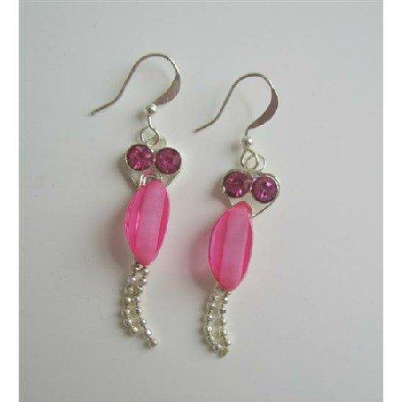 U058  Cute Beautiful Pink Cubic Zircon Sparkling Earrings w/ Dangling Silver Chain Earrings