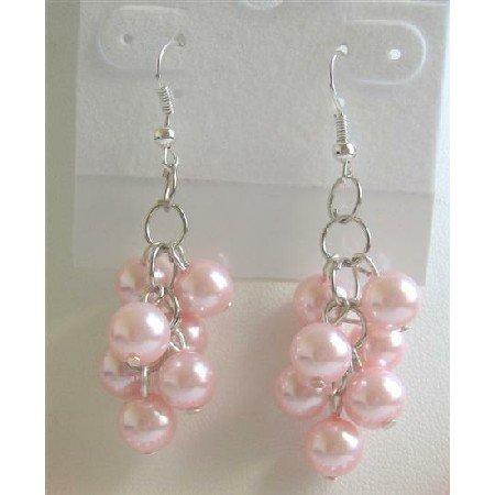 UER130  Pink Pearls Earrings Pearls Grapes Earrings