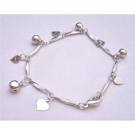 U103Charm Bracelet 7Inches High Quality Rhodium Chain Hanging Charms Heart w/Love Engraved