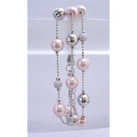 U192Dainty Sleek Pink Pearls Fancy Beads Silver Bead Three Stranded Beautiful Pink Bracelet