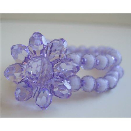 UBR122  Purple Simulated Crystals Flower Double Stranded Stretchable Bracelet