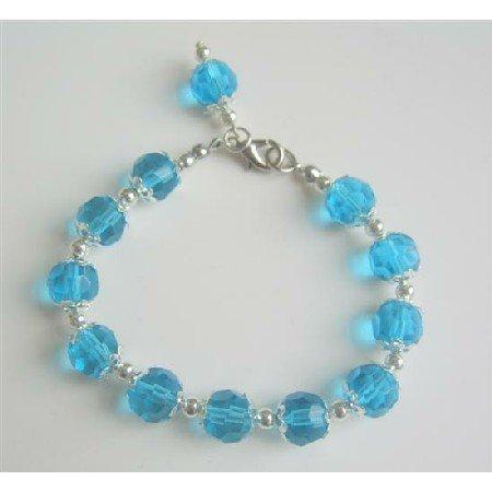 U128  Aquamarine Crystals Dangling Sexy Bracelet Good Quality Beads Bracelet & Bali Silver