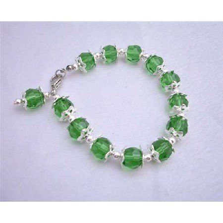 UBR020  Green Simulated Crystals Bracelet Balls Beads Bracelet w/ Bead Dangling 7 1/2 Inches